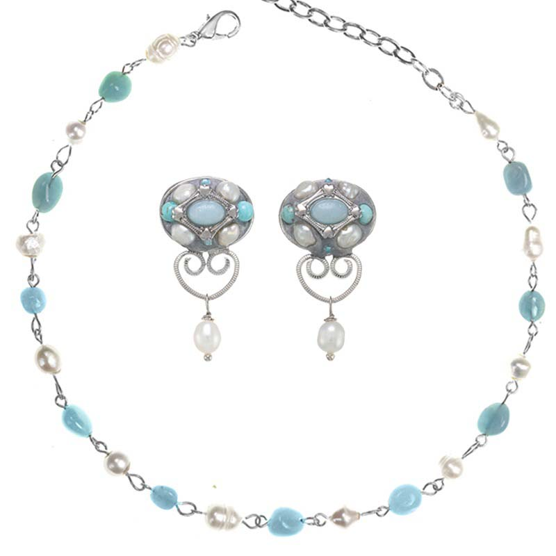 Amazonite and Pearl Necklace and Earring Set