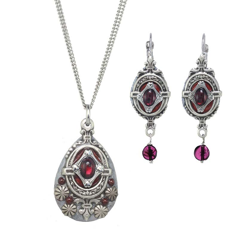 Silver Garnet Necklace and Earrings Set