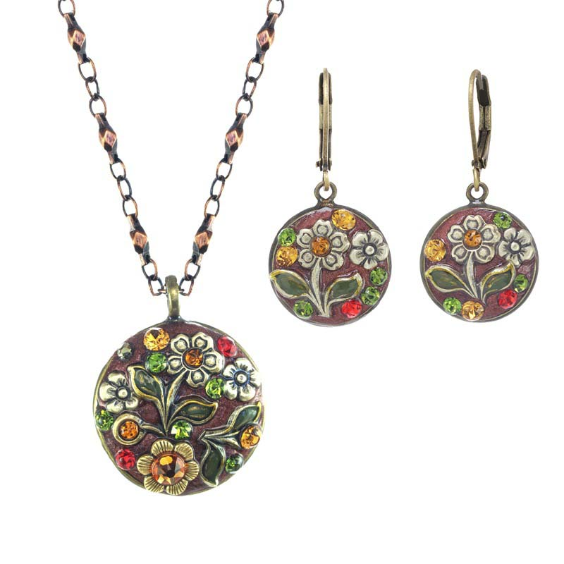 Rustic Floral Necklace and Earrings Set