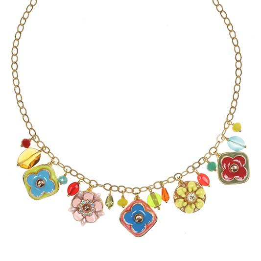 Whimsical Flower Charm Necklace