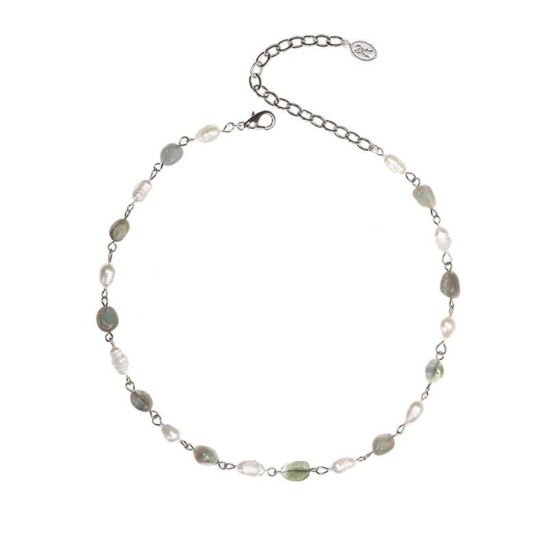 Grey and White Pearl Choker Necklace