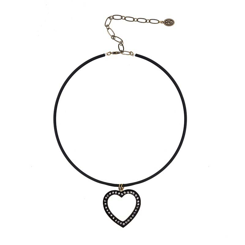 Black Crystal Heart Choker Necklace