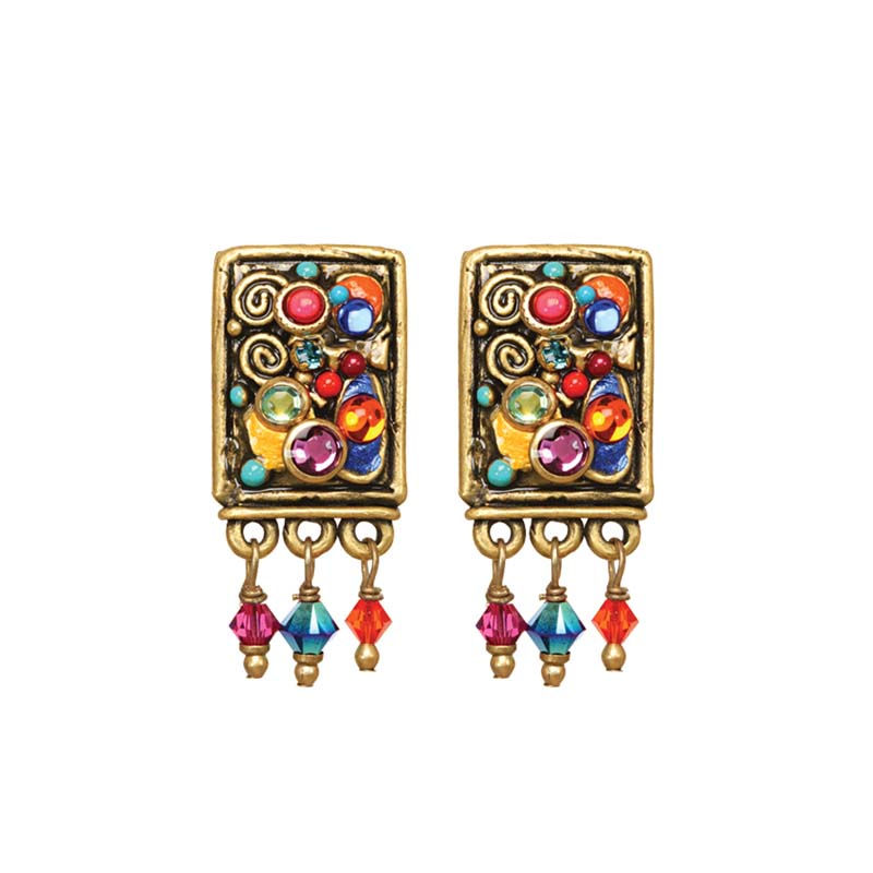 Confetti Dangling Rectangle Clip Earrings
