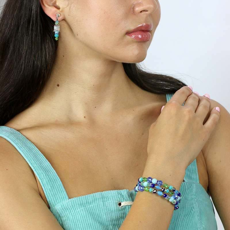 Oceanic Beaded Bracelet and Earrings Set