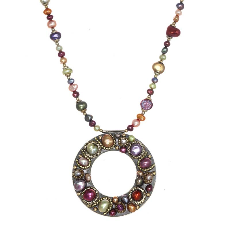 Sunset Open Circle Beaded Necklace