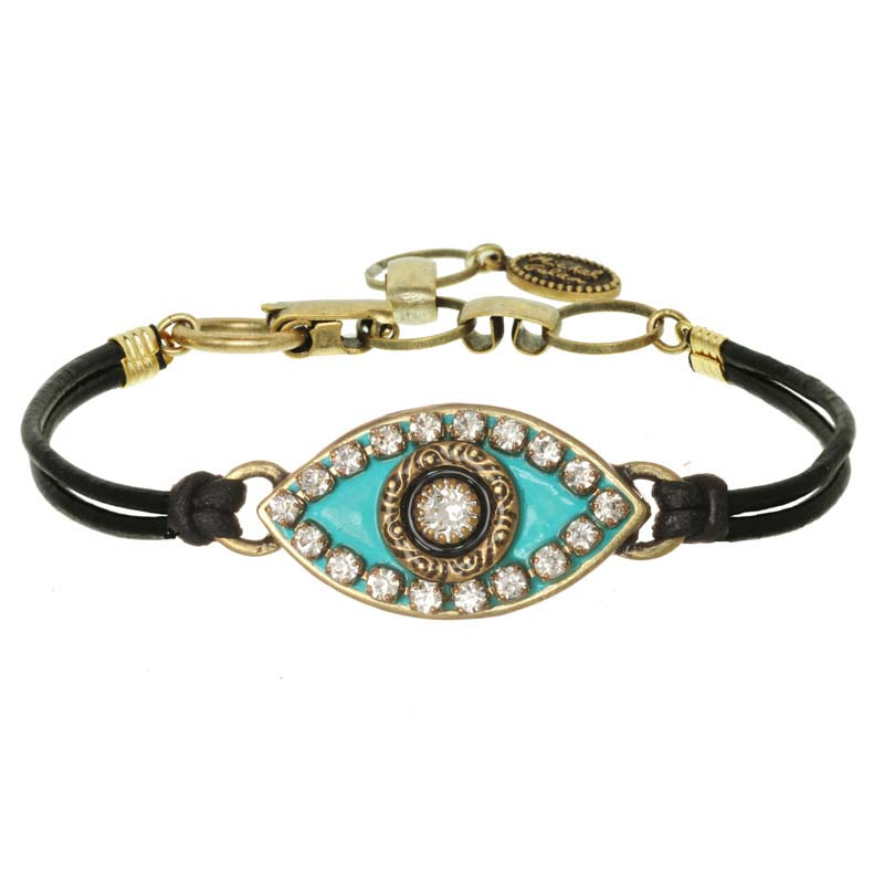 Turquoise and Gold Evil Eye Bracelet