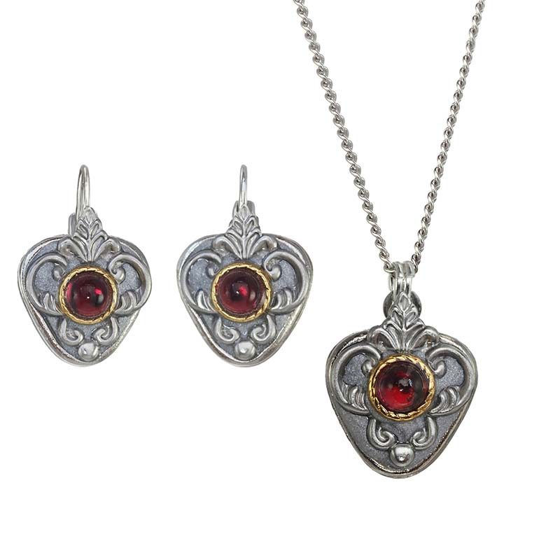 Garnet and Silver Shield Necklace and Earrings Set