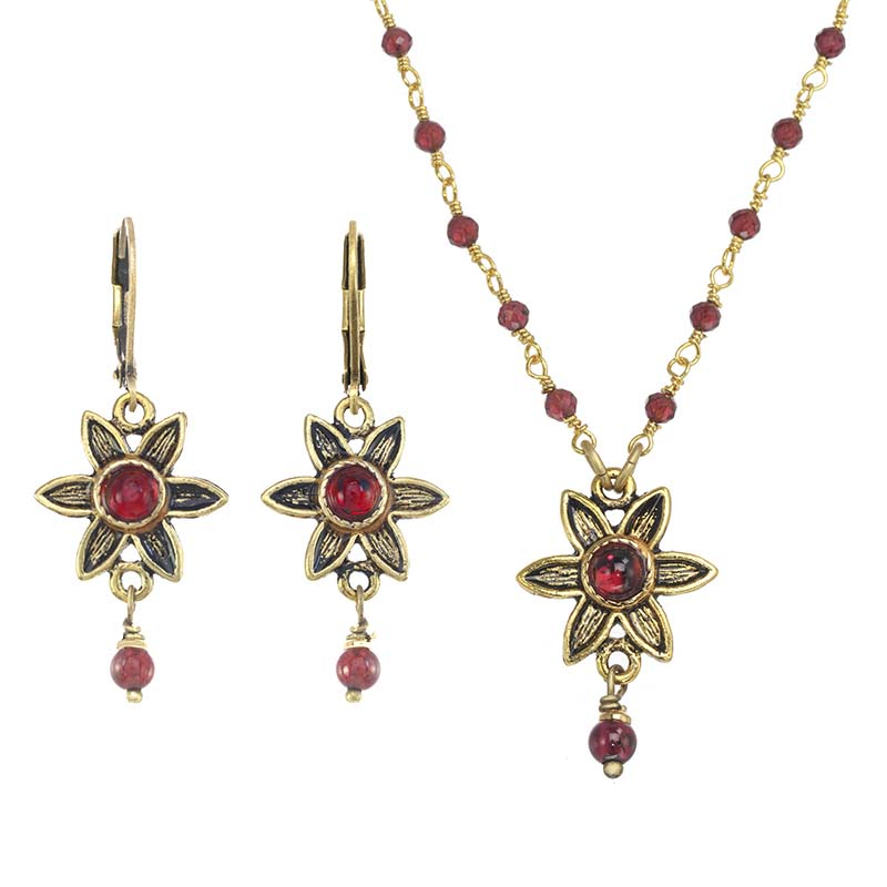 Garnet and Gold Flower Necklace and Earrings Set