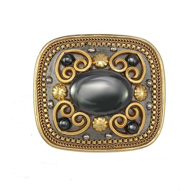 Hematite Square Brooch