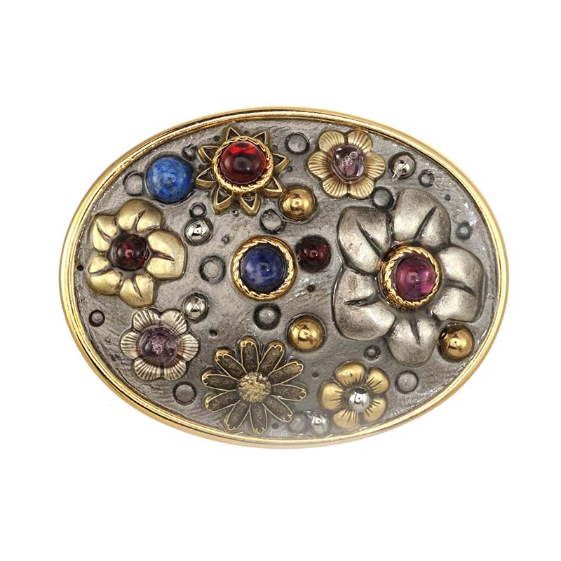 Gemstone Floral Brooch