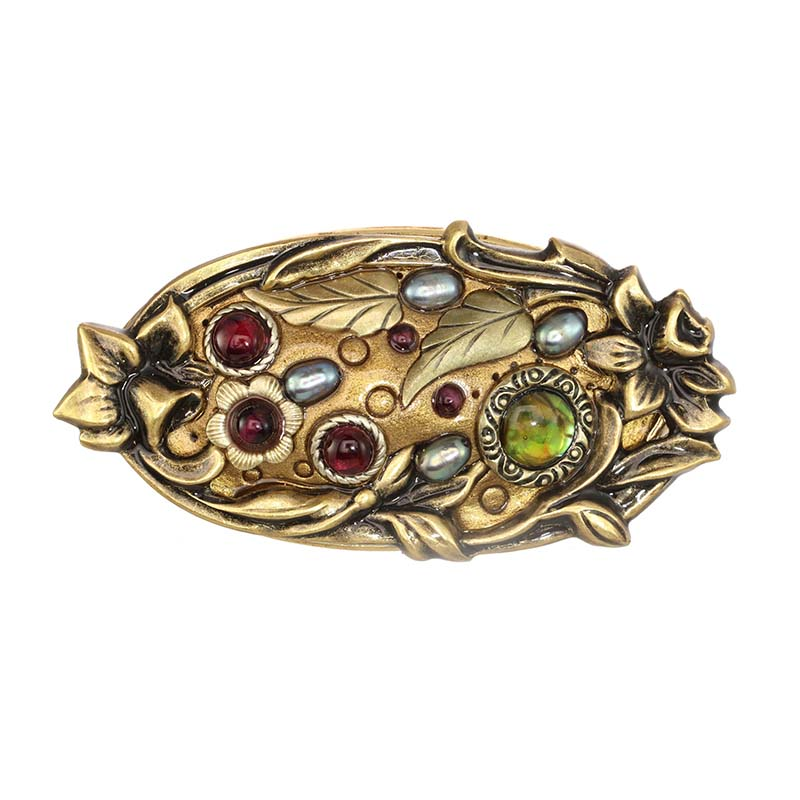 Abalone and Gold Oval Brooch