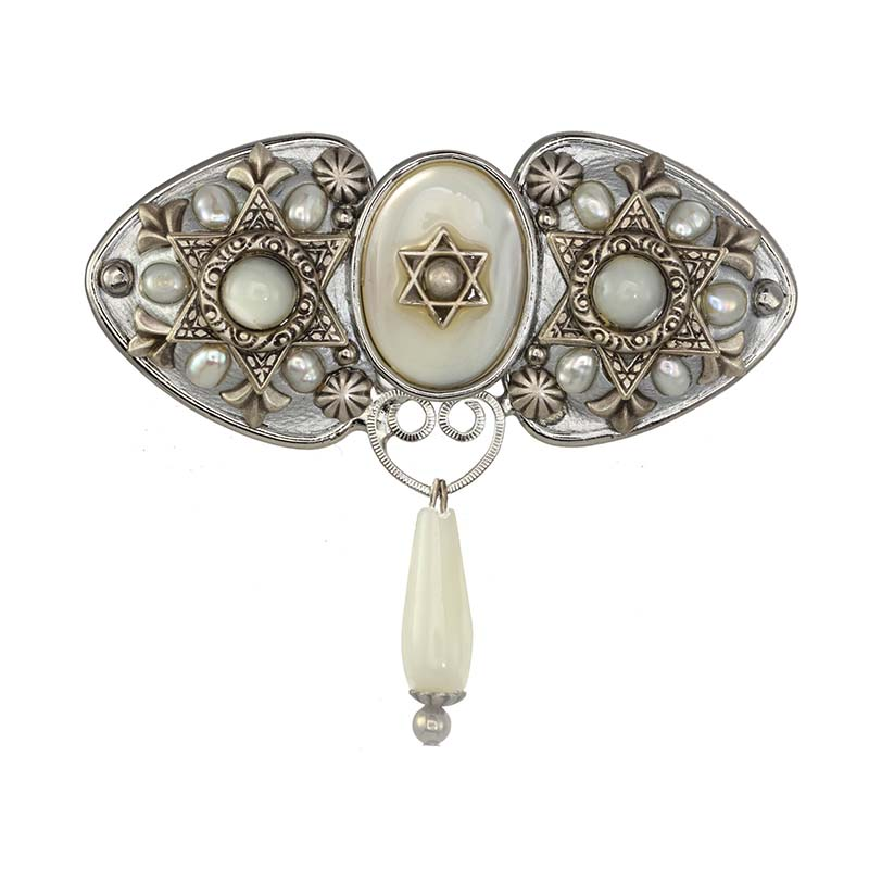 Mother of Pearl Star of David Brooch