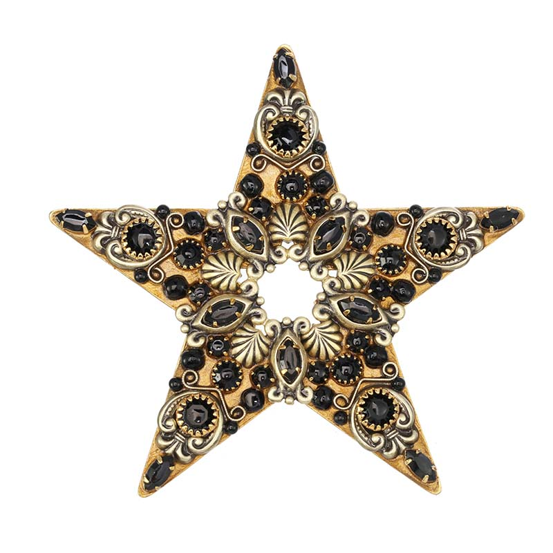 Black Crystal Star Brooch