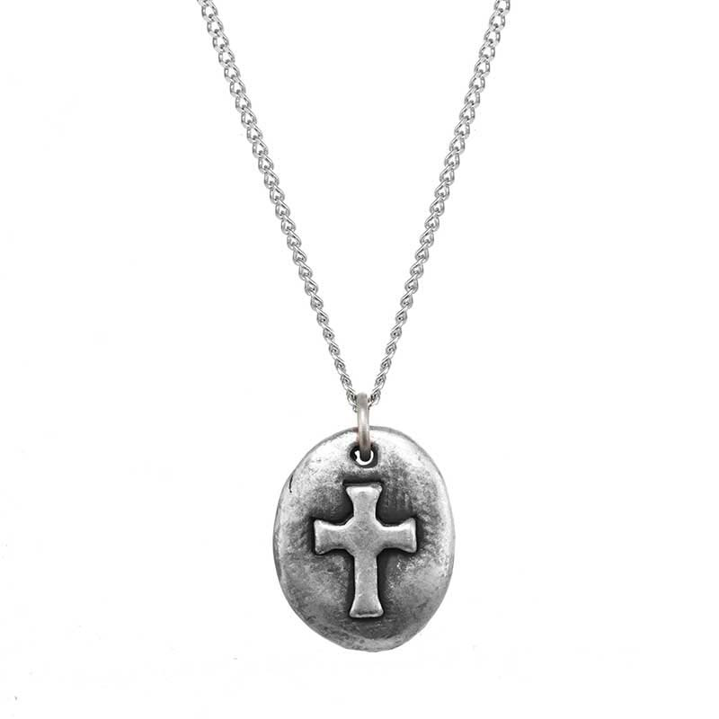 Small Silver Cross Oval Necklace