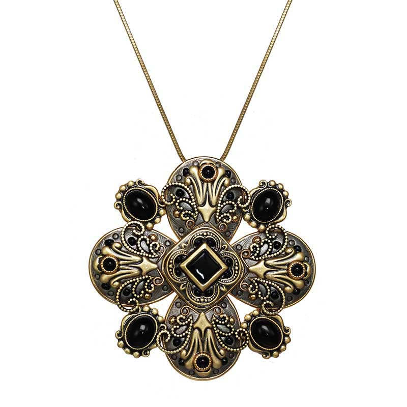 Black Onyx Floral Necklace