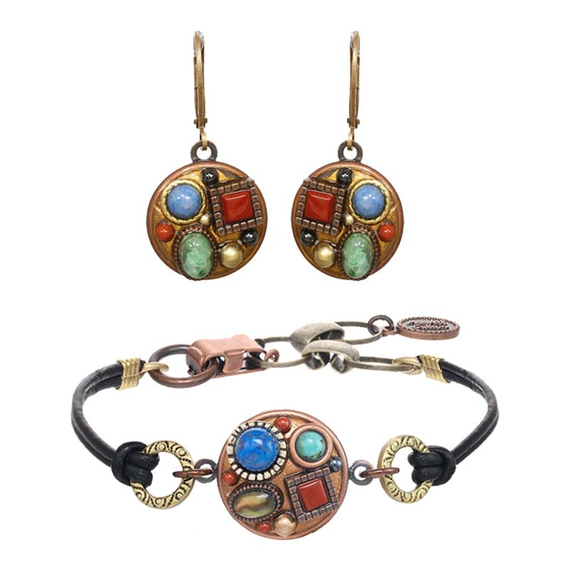 Bronze Age Circle Earrings and Bracelet Set