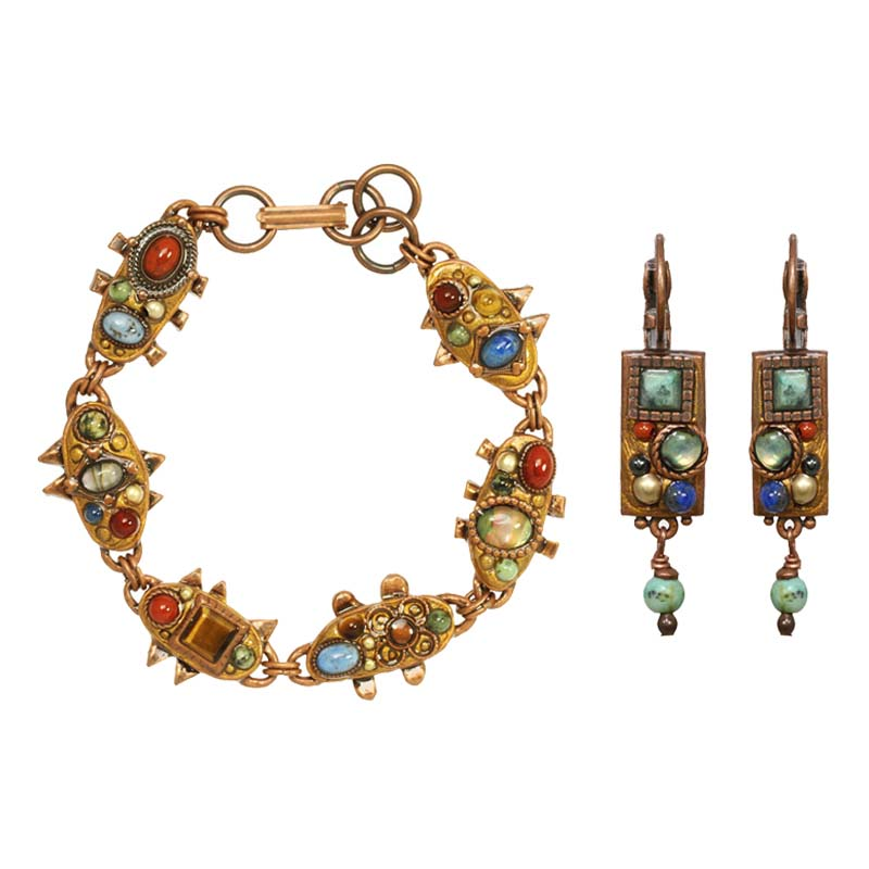 Bronze Age Abstract Bracelet and Earrings Set