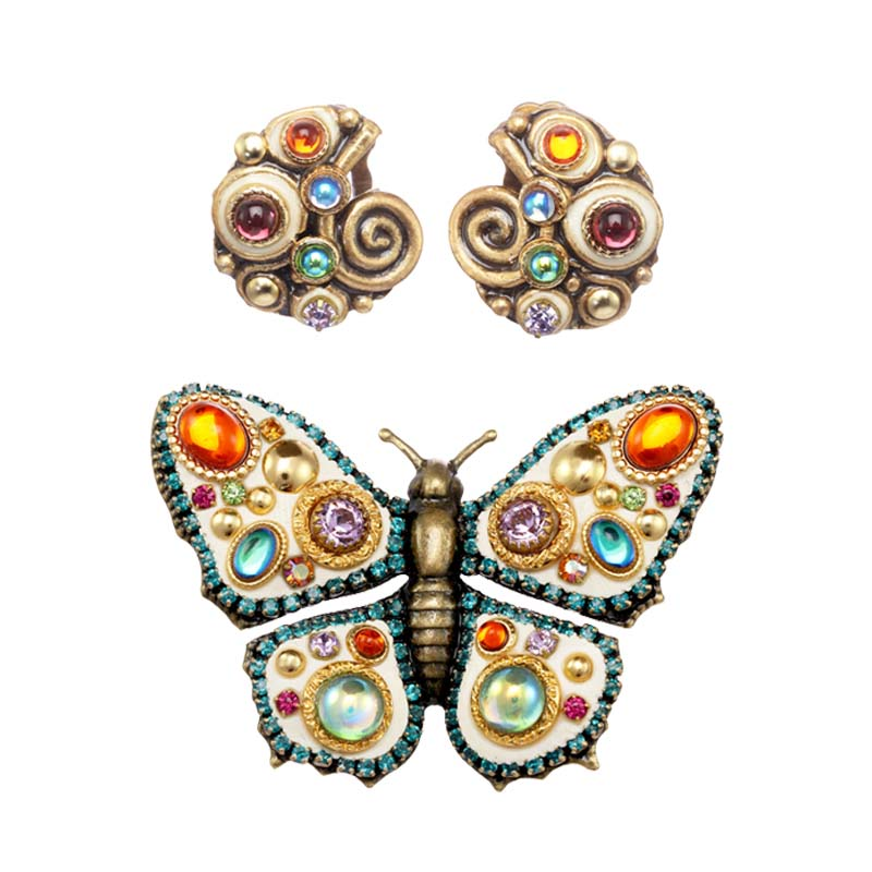Aurora Butterfly Brooch and Earrings Set
