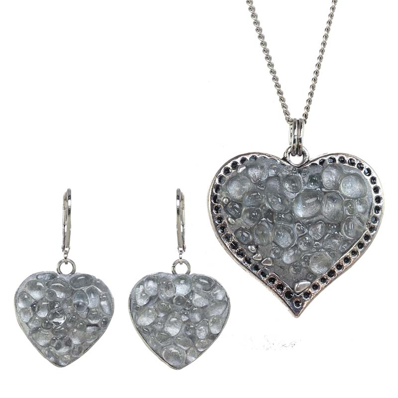 Icy Heart Necklace and Earrings Set