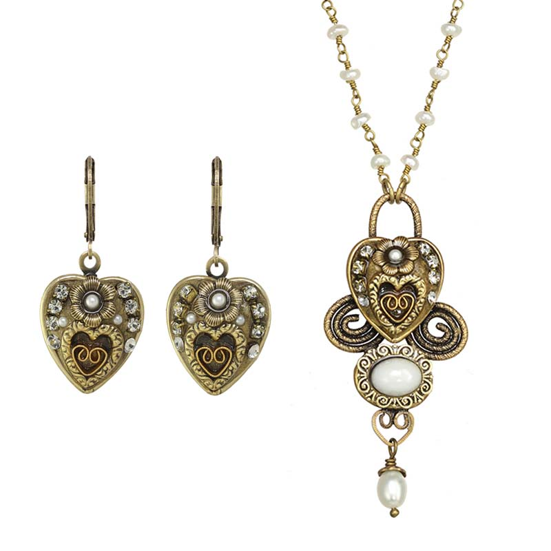 Gold and Pearl Heart Necklace and Earrings Set