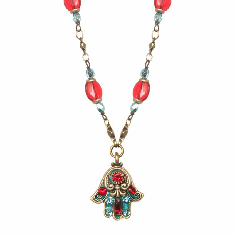 Coral and Turquoise Hamsa Necklace