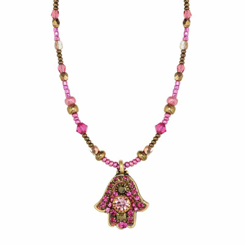 Pink Crystal Hamsa Necklace