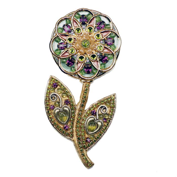 Purple and Green Flower Brooch