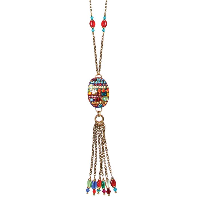 Multibright Oval Tassel Necklace