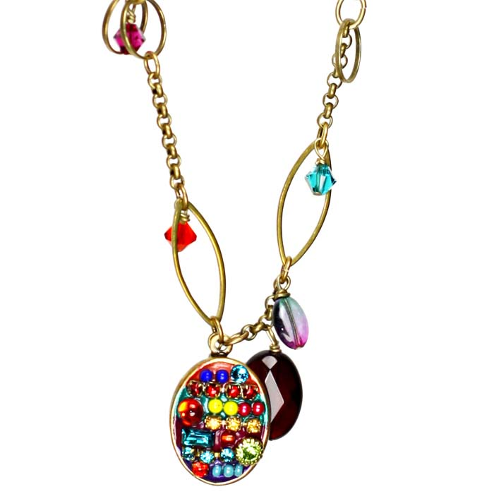 Multibright Oval Charm Necklace