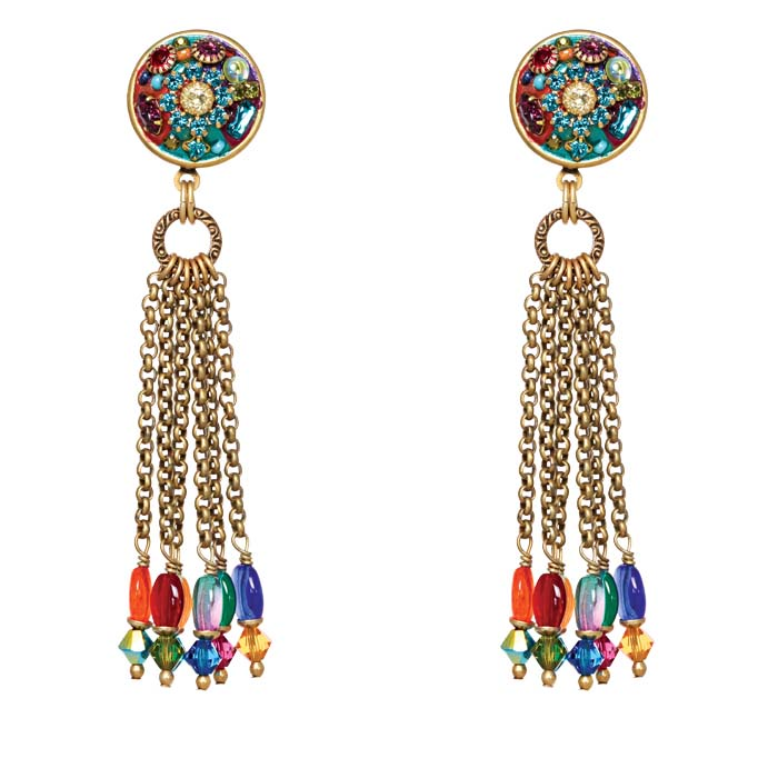 Multibright Tassel Clip Earrings