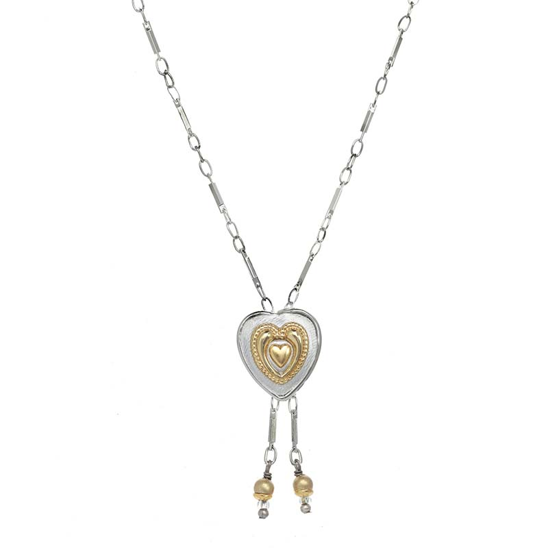 Silver and Gold Heart Necklace