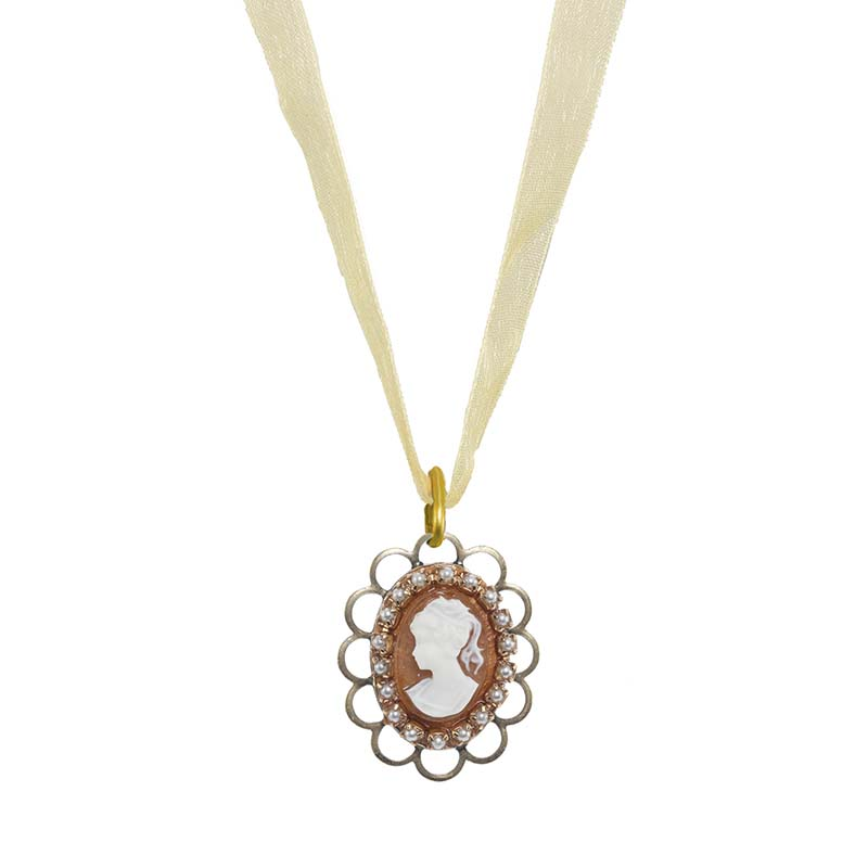 Creme Ribbon Cameo Necklace