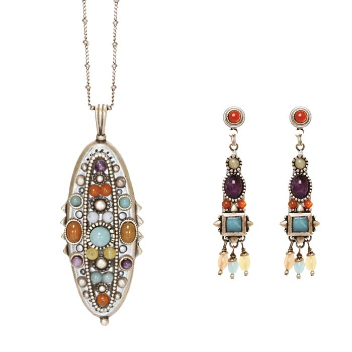 Tranquil Gemstone Necklace and Earrings Set