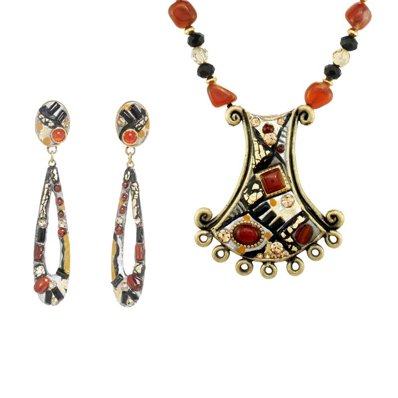 Abstract Necklace and Earrings Set