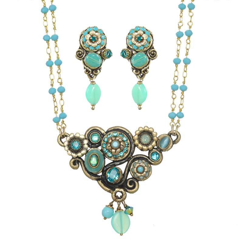 Viridian Garden Necklace and Earrings Set