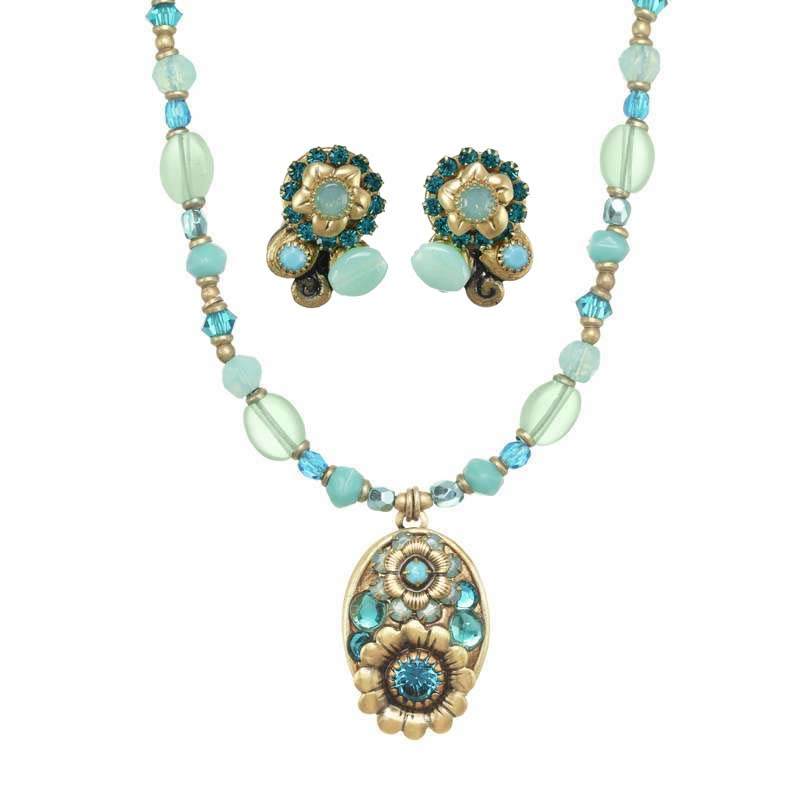 Viridian Oval Necklace and Earrings Set