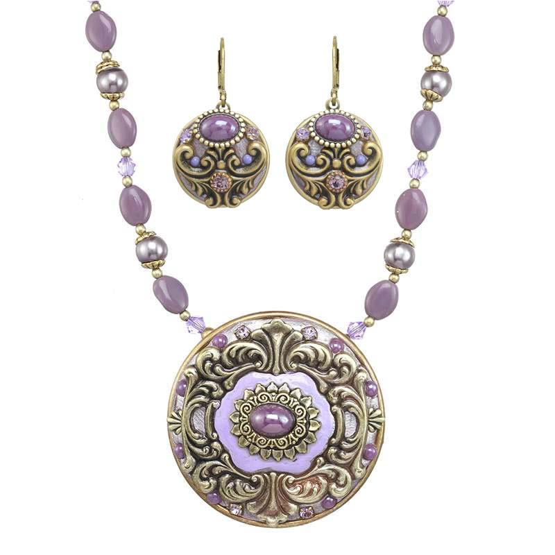 Lilac Circle Necklace and Earrings Set