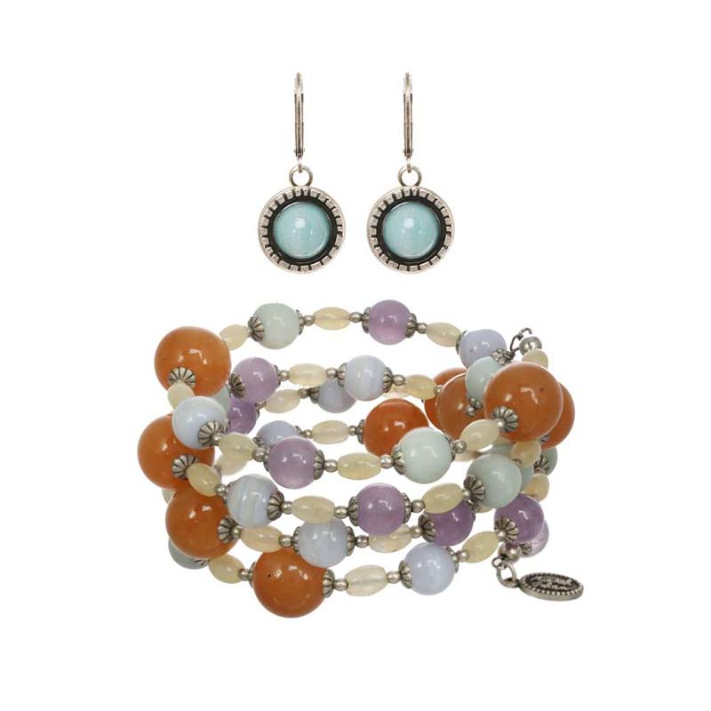 Mojave Beaded Earrings and Necklace Set