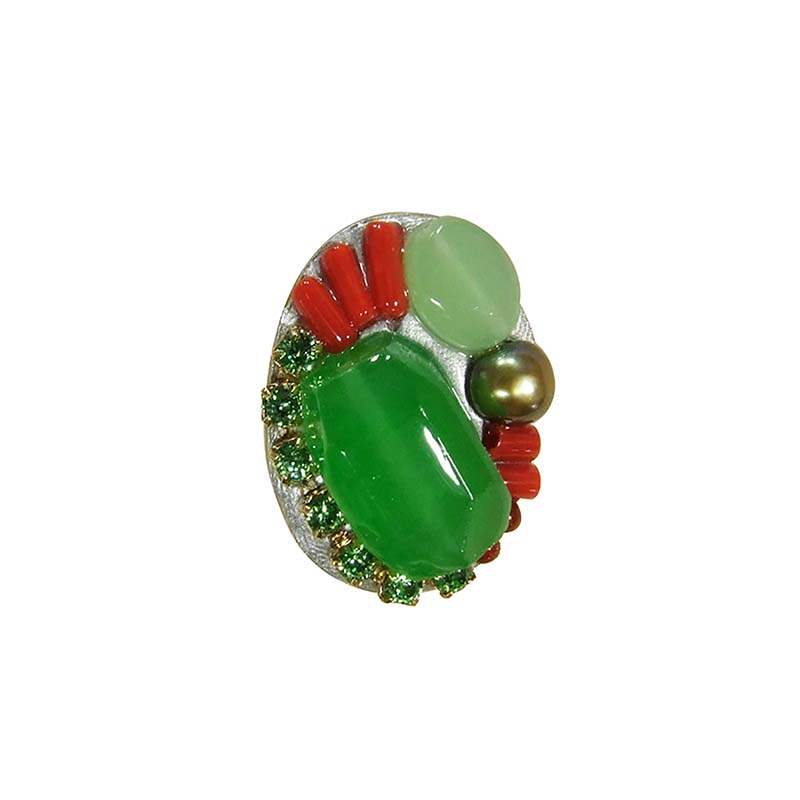 Lime Green and Red Oval Ring