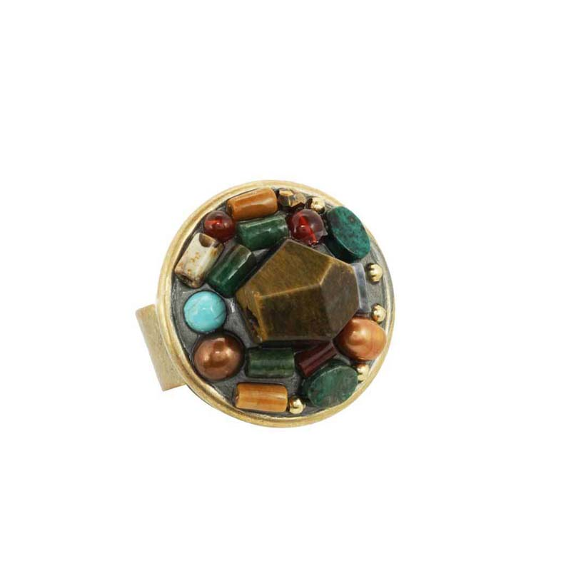 Mediterranean Gemstone Circle Ring