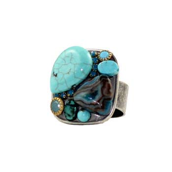 Turquoise and Abalone Square Ring