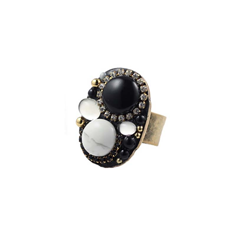Black and White Oval Ring
