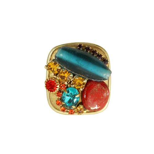 Bright Red and Blue Square Ring