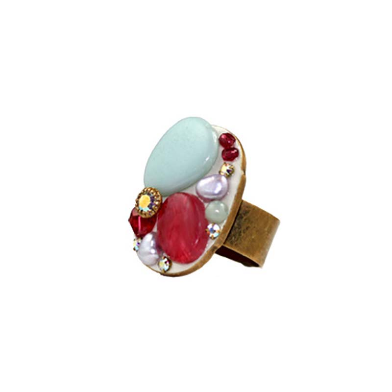 Red and Blue Oval Ring
