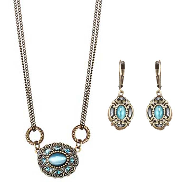 Atlantis Oval Necklace and Earrings Set
