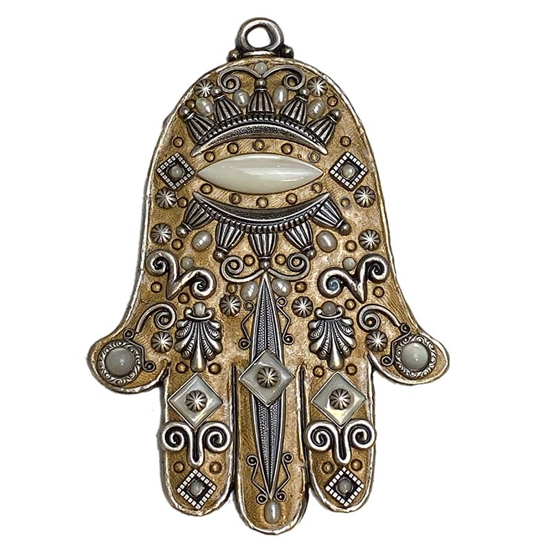 Mother of Pearl Bronze Wall Hamsa