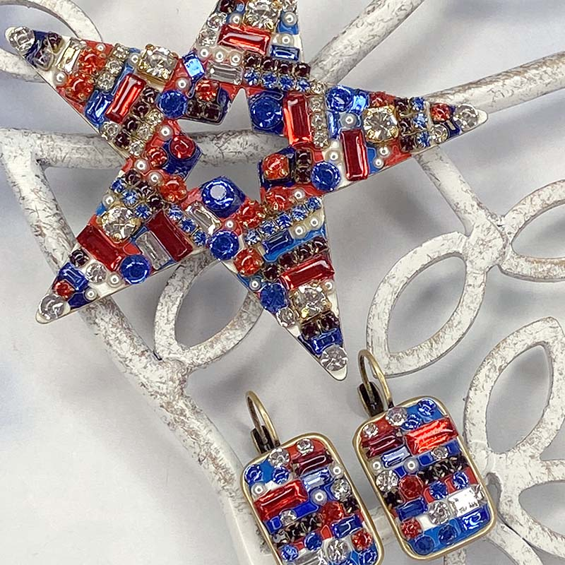 Special Order: Red White and Blue Star Brooch and Earrings Set