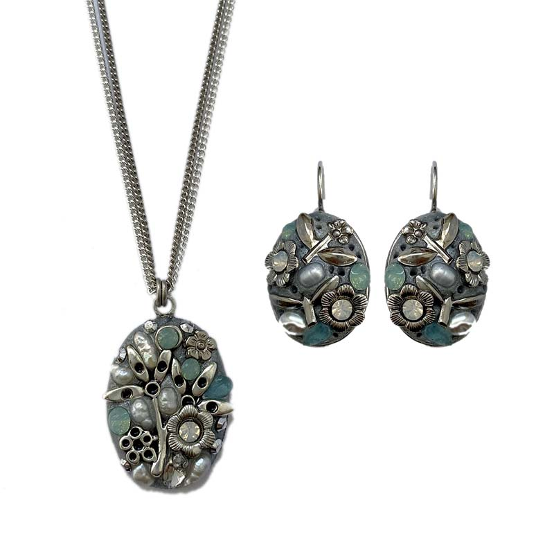 Aquamarine Garden Oval Necklace and Earrings Set