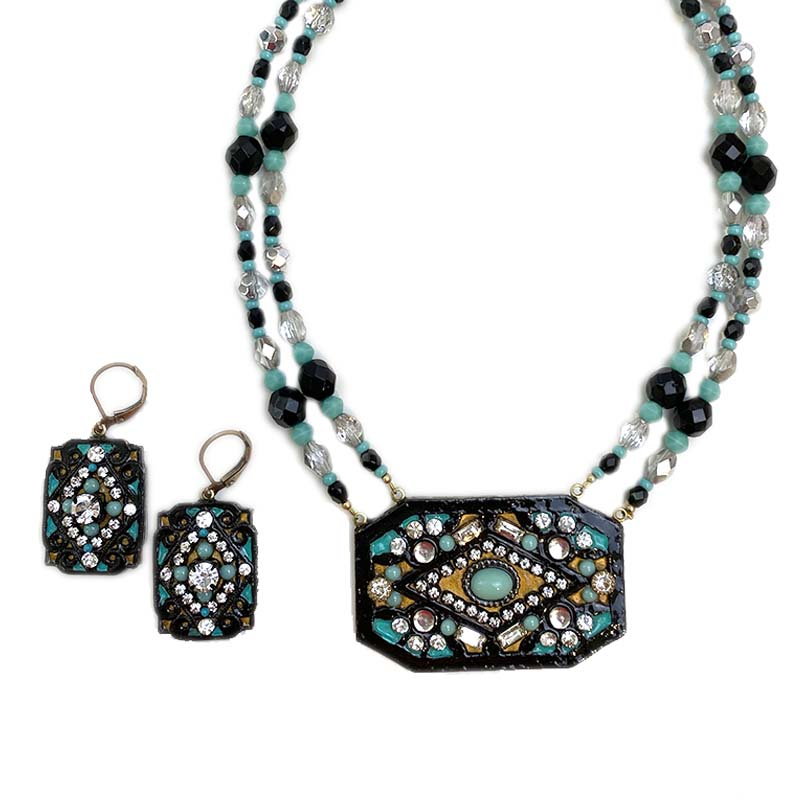 Turquoise and Bronze Rectangle Necklace and Earrings Set