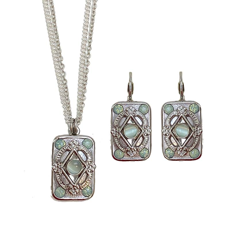 Pacific Opal Rectangle Necklace and Earrings Set